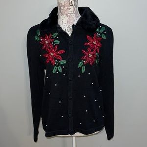 Basic Editions Black Poinsettia Cardigan Medium